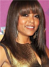 Fashion Medium Straight Brown African American Wigs for Women