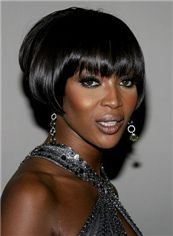 Dainty Short Straight Black African American Wigs for Women