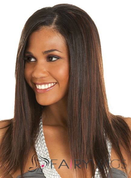 Wonderful Medium Straight Brown African American Full Lace Wigs for Women