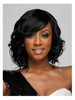 Cheap Medium Wavy Black African American Lace Front Wigs for Women