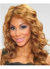 Indian Hair Medium Wavy Blonde African American Lace Front Wigs for Women