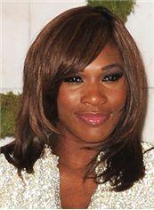 Sketchy Medium Wavy Brown African American Wigs for Women
