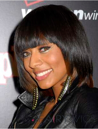 Cute Short Straight Sepia African American Wigs for Women