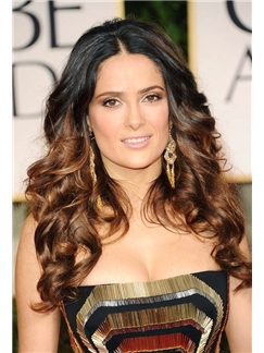 Fashion Long Wavy Brown African American Lace Front Wigs for Women