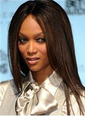 Long Straight Brown African American Full Lace Wigs for Women