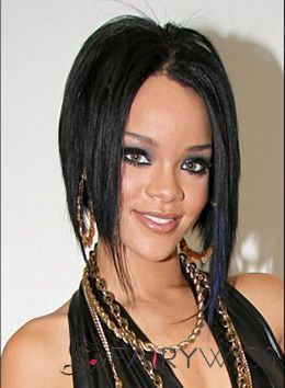 Fashionable Medium Straight Black African American Full Lace Wigs for Women