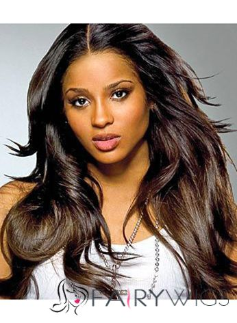 Top Quality Long Wavy Sepia African American Lace Front Wigs for Women