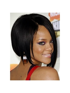Short Straight Black Rihanna's Full Lace Wigs