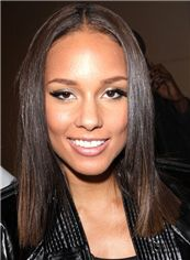Gorgeous Medium Straight Sepia African American Full Lace Wigs for