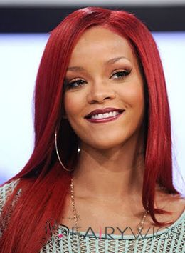 Exquisite Long Straight Red African American Lace Front Wigs for Women