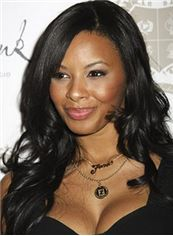 Lustrous Long Wavy Black African American Full Lace Wigs for Women