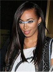 Outstanding Medium Straight Sepia African American Full Lace Wigs for