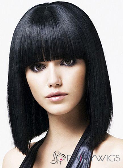 Fabulous Medium Straight Black Synthetic Hair Wigs