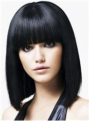 Fabulous Medium Straight Black Synthetic Hair Wigs