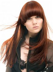 2013 Fashion Trend Long Straight Red Human Hair Wigs