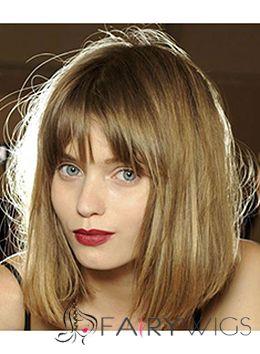 Gracefull Medium Straight Blonde Real Hair Wigs