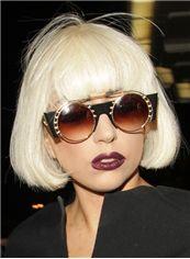 Popurlar Short Straight Blonde Human Hair Wigs
