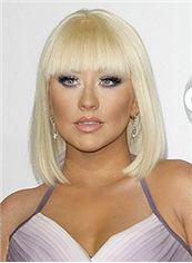 Pretty Short Straight Blonde Human Hair Wigs