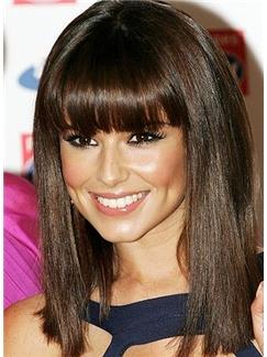 Affordable Medium Straight Brown Human Hair Wigs