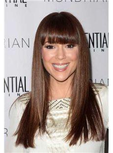 Sketchy Long Straight Brown Human Hair Wigs
