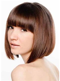 Ingenious Short Straight Brown Human Hair Wigs
