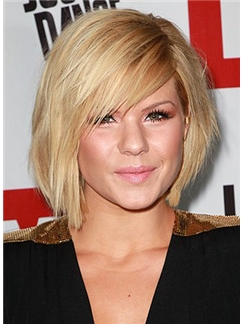 Popurlar Short Straight Blonde Human Hair Wigs