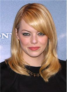 Lustrous Medium Wavy Blonde Human Hair Wigs