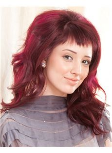 Top-rated Full Lace Medium Wavy Red Remy Hair Wig