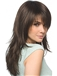Classic Long Straight Brown Indian Remy Hair Wigs 20 Inch
