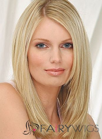 Cute Full Lace Medium Straight Blonde Remy Hair Wig
