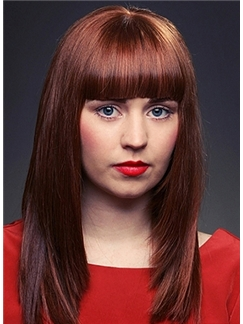 Outstanding Medium Straight Red Indian Remy Hair Wigs 16 Inch