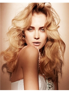 Wonderful Full Lace Wavy Medium Blonde Remy Hair Wig