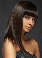 Affordable Medium Straight Sepia Human Hair Wigs 18 Inch