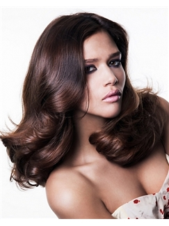 Inexpensive Full Lace Medium Wavy Brown Hair Wig