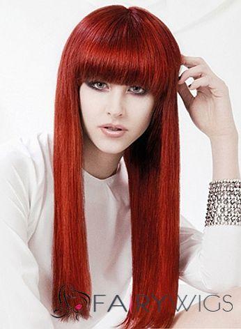 Cheap Capless Long Straight Red Remy Hair Wig Fairywigs Com