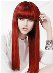 Cheap Capless Long Straight Red Remy Hair Wig