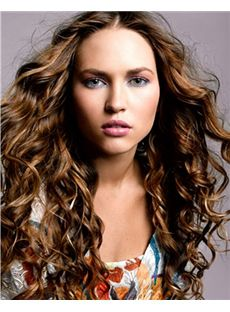 100% Human Hair Brown Long Personalized Wigs 20 Inch