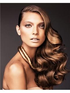 Elegant Full Lace Wavy Brown Medium Remy Hair Wig