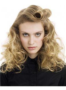 100% Human Hair Blonde Full Lace Wavy Medium 16 Inch Wigs