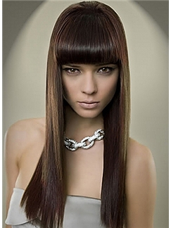 Attractive Long Straight Brown Human Hair Wigs 20 Inch