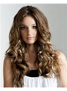 Stunning Full Lace Long Wavy Brown Remy Hair Wig