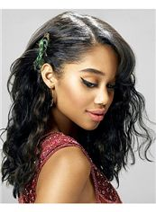 Sketchy Full Lace Medium Wavy Black Remy Hair Wig
