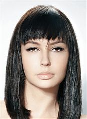 Up-to-date Medium Straight Black Indian Human Hair Wigs 14 Inch