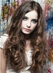 100% Human Hair Brown Long Wavy Full Lace Wigs