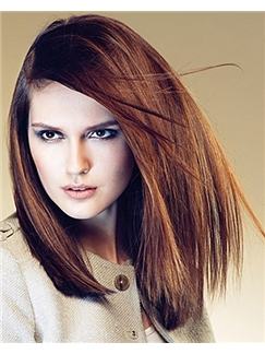 Straight Brown Cheap Full Lace Medium Remy Hair Wig