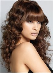 Pretty Medium Wavy Brown Synthetic Hair Wigs 16 Inch