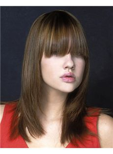 Attractive Medium Straight Brown Human Hair Wigs 16 Inch