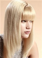 Glitter Medium Straight Blonde Human Hair Wigs 16 Inch