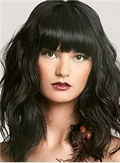Hot Medium Wavy Black Real Human Hair Wigs