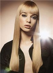 Gracefull Long Straight Blonde Real Human Hair Wigs